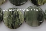 CGH23 15.5 inches 25mm flat round green hair stone beads wholesale