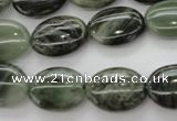 CGH44 15.5 inches 12*16mm oval green hair stone beads wholesale