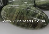 CGH51 15.5 inches 25*50mm oval green hair stone beads wholesale