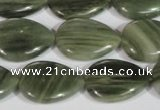 CGH55 15.5 inches 15*20mm flat teardrop green hair stone beads