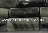CGH61 15.5 inches 12*30mm faceted tube green hair stone beads