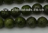 CGJ462 15.5 inches 8mm faceted round green jasper beads wholesale