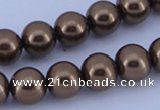CGL103 10PCS 16 inches 6mm round dyed glass pearl beads wholesale