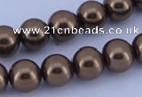 CGL108 5PCS 16 inches 16mm round dyed glass pearl beads wholesale