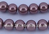 CGL125 5PCS 16 inches 10mm round dyed glass pearl beads wholesale