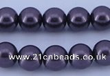 CGL137 5PCS 16 inches 14mm round dyed glass pearl beads wholesale
