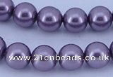 CGL146 5PCS 16 inches 12mm round dyed glass pearl beads wholesale