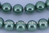 CGL227 5PCS 16 inches 14mm round dyed glass pearl beads wholesale