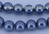 CGL238 5PCS 16 inches 16mm round dyed glass pearl beads wholesale