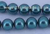 CGL243 10PCS 16 inches 6mm round dyed glass pearl beads wholesale