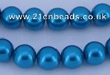 CGL252 10PCS 16 inches 4mm round dyed glass pearl beads wholesale