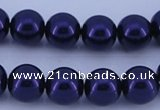 CGL275 5PCS 16 inches 10mm round dyed glass pearl beads wholesale
