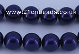 CGL277 5PCS 16 inches 14mm round dyed glass pearl beads wholesale