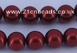 CGL323 10PCS 16 inches 6mm round dyed glass pearl beads wholesale