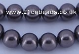 CGL406 5PCS 16 inches 12mm round dyed glass pearl beads wholesale