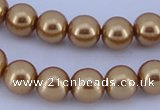 CGL63 10PCS 16 inches 6mm round dyed glass pearl beads wholesale