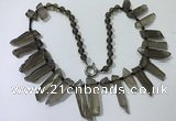 CGN188 23 inches 8*20mm - 11*60mm smoky quartz stick necklaces