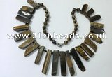 CGN195 23 inches 8*20mm - 11*60mm yellow tiger eye stick necklaces