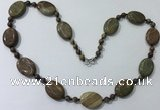 CGN206 22 inches 6mm round & 18*25mm oval jasper necklaces