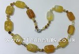 CGN232 22 inches 6mm round & 18*25mm rectangle agate necklaces