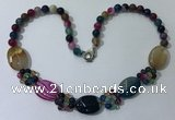 CGN279 18.5 inches 8mm round & 18*25mm oval agate beaded necklaces