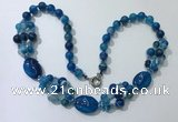 CGN294 24.5 inches chinese crystal & blue agate beaded necklaces