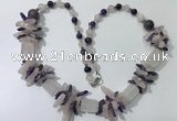 CGN302 27.5 inches chinese crystal & mixed quartz beaded necklaces