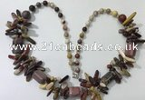 CGN309 27.5 inches chinese crystal & mookaite beaded necklaces