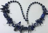 CGN313 27.5 inches chinese crystal & lapis lazuli beaded necklaces