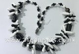 CGN317 chinese crystal, white porcelain & black agate beaded necklaces
