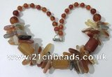 CGN338 20.5 inches chinese crystal & red agate beaded necklaces