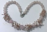 CGN350 19.5 inches chinese crystal & rose quartz beaded necklaces