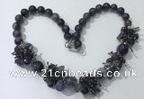 CGN352 19.5 inches chinese crystal & amethyst beaded necklaces