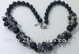 CGN360 19.5 inches chinese crystal & blue goldstone beaded necklaces