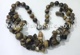 CGN373 19.5 inches round & chips yellow tiger eye beaded necklaces