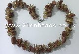 CGN411 19.5 inches chinese crystal & goldstone chips beaded necklaces