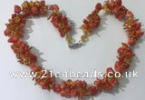 CGN418 19.5 inches chinese crystal & coral chips beaded necklaces