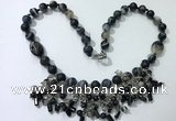 CGN477 21.5 inches chinese crystal & striped agate beaded necklaces