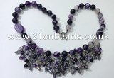 CGN478 21.5 inches chinese crystal & striped agate beaded necklaces