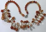 CGN499 21 inches chinese crystal & striped agate beaded necklaces