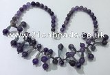 CGN503 21 inches chinese crystal & amethyst beaded necklaces