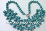 CGN559 19.5 inches stylish 4mm - 12mm imitation turquoise beaded necklaces
