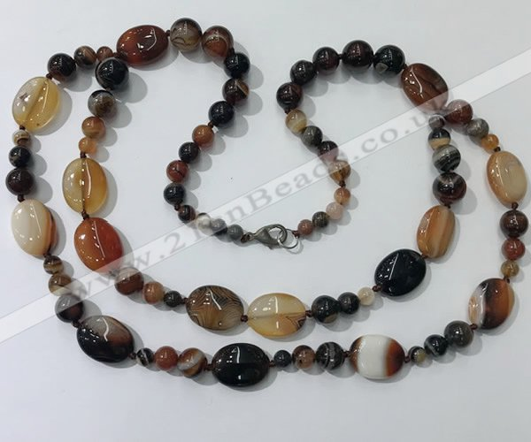 CGN582 23.5 inches striped agate gemstone beaded necklaces