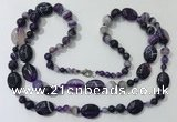 CGN583 23.5 inches striped agate gemstone beaded necklaces