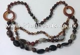 CGN602 23.5 inches striped agate gemstone beaded necklaces