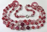 CGN624 24 inches chinese crystal & striped agate beaded necklaces