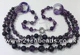 CGN639 24 inches chinese crystal & striped agate beaded necklaces