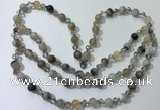 CGN650 22 inches chinese crystal & striped agate beaded necklaces