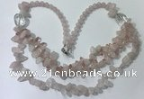 CGN695 22.5 inches chinese crystal & rose quartz beaded necklaces