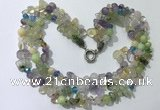 CGN711 22 inches fashion 3 rows mixed gemstone beaded necklaces